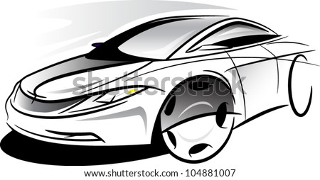 Sketch car - stock vector