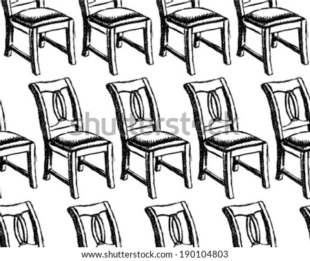 Sketch chair, vector vintage seamless pattern - stock vector