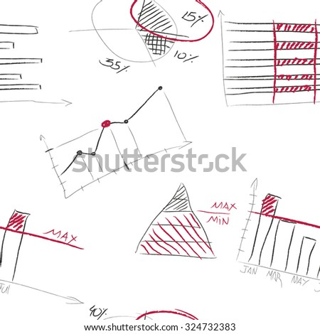 Sketch chalk business elements on blackboard background. - stock vector