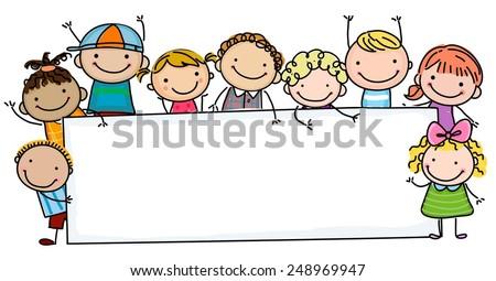 Sketch children and banner - stock vector