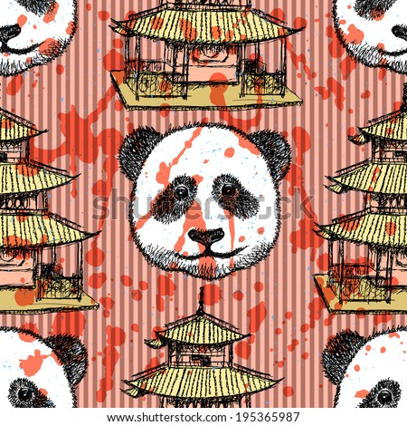 Sketch Chinese temple and panda, vector vintage seamless pattern - stock vector