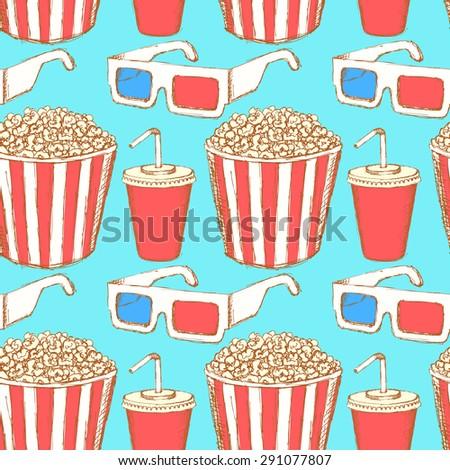 Sketch cinema set in vintage style, vector seamless pattern - stock vector