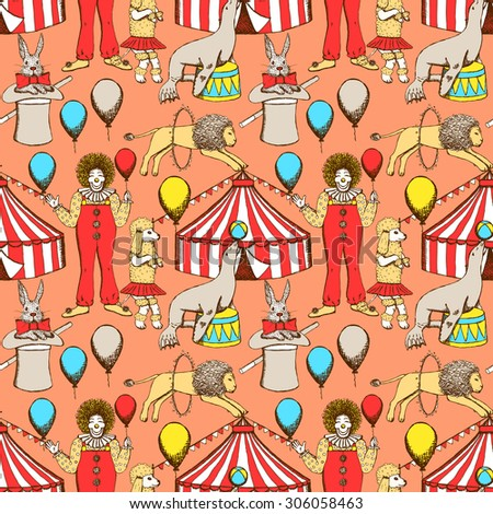Sketch circus in vintage style, vector seamless pattern   - stock vector