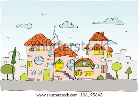 sketch city background - stock vector