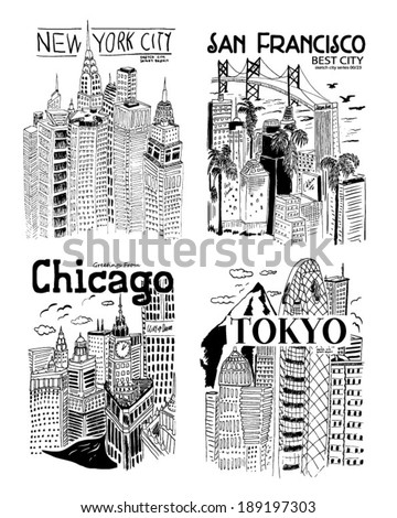 sketch city collection - stock vector