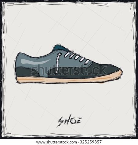 Sketch color illustration. Sign. Shoes - stock vector