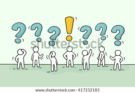 Sketch - crowd of working little people with question sings and exclamation point. Doodle cute miniature teamwork find right decision. Hand drawn cartoon vector illustration for business design. - stock vector