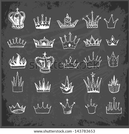 Sketch crowns collection on blackboard. Vector illustration. - stock vector