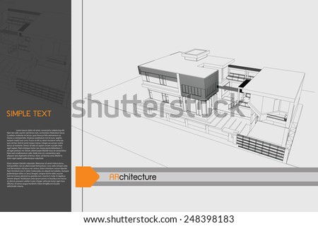 sketch design of home on drawing table,vector - stock vector