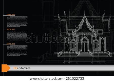 sketch design of temple,vector - stock vector