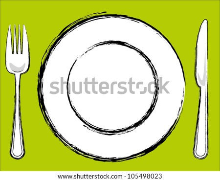 Sketch dinner plate,knife and fork - stock vector