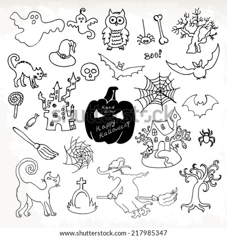 Sketch doodle Halloween icon set. Hand draw vector illustration - stock vector