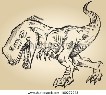 Sketch Doodle Tyrannosaurus Dinosaur T-Rex Vector Illustration Art - stock vector