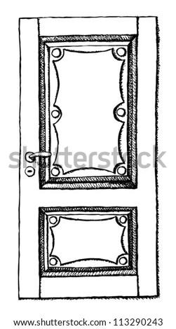 Sketch door - stock vector