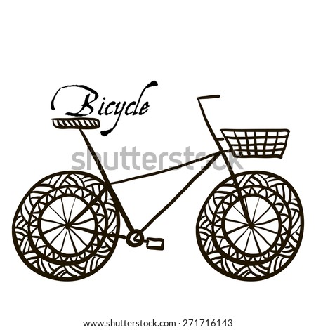 Sketch drawing a bicycle in Doodle style - stock vector