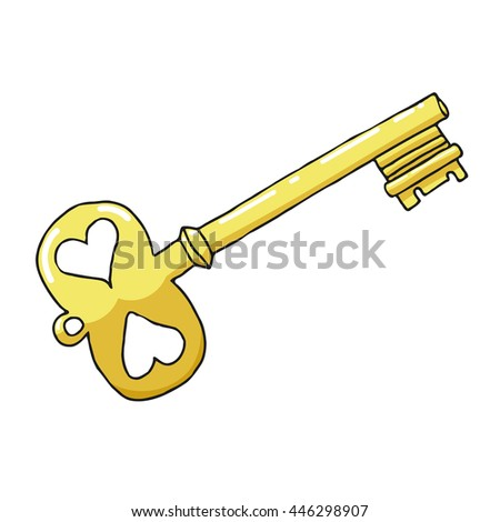 Sketch drawing a gold key on a white background. Symbol of love and feelings. Stock vector illustration - stock vector
