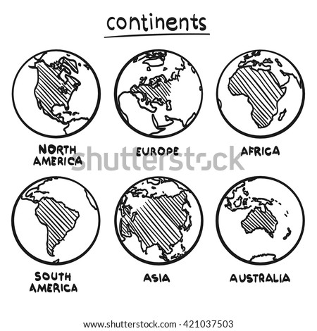 Sketch drawing continents, Planet continent Europe, Planet continent Asia, Planet continent America, Planet continent Australia, Planet continent Africa, Vector illustration - stock vector