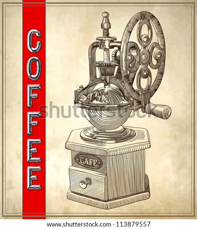 Sketch drawing of coffee grinder on grunge background - stock vector