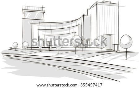 Sketch drawing of modern architecture. Vector image. - stock vector