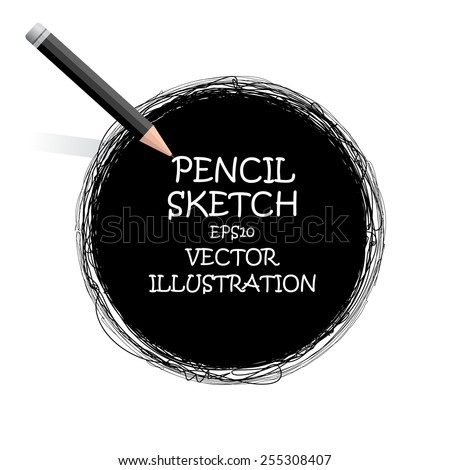 Sketch drawing pencil black circle. Vector doodles. The Illustration is used for in web design, banners, in computer design. - stock vector