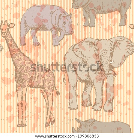 Sketch elephant, rhino, giraffe and hippo, vector vintage seamless pattern  - stock vector