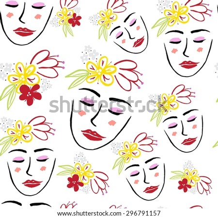 Sketch face pattern. - stock vector
