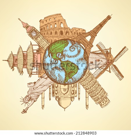 Sketch famous buildings around planet Earth, background  - stock vector