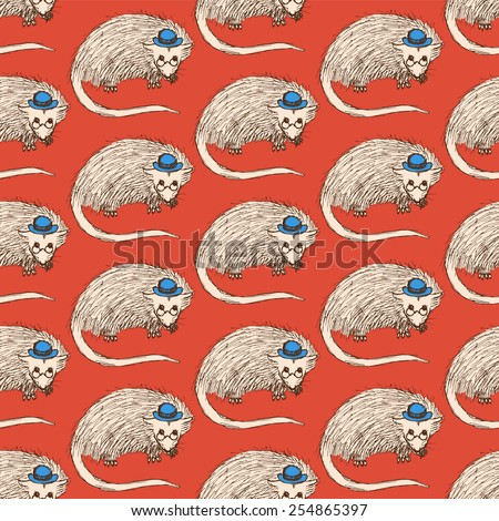 Sketch fancy opossum in vintage style, vector seamless pattern - stock vector