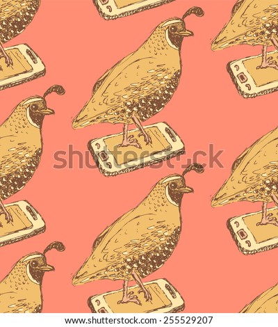 Sketch fancy quail in vintage style, vector seamless pattern - stock vector