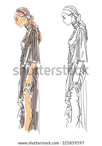 Sketch Fashion - A Woman With Gray Dress - stock vector