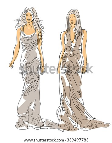 Sketch Fashion Models - stock vector