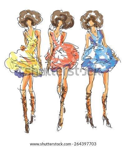 Sketch Fashion Poses - stock vector