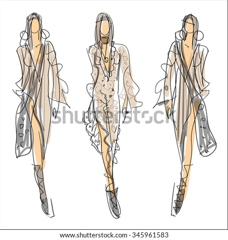 Sketch Fashion - women in grey - stock vector