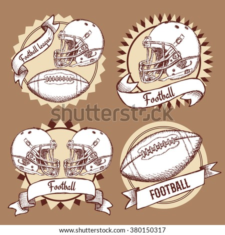 Sketch football logotypes in vintage style, vector - stock vector