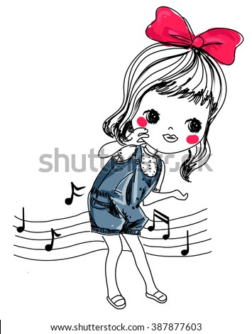 Sketch girl and music - stock vector