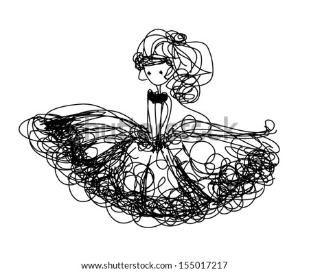 sketch girl hand drawn girl illustration with tutu dress black line art - stock vector