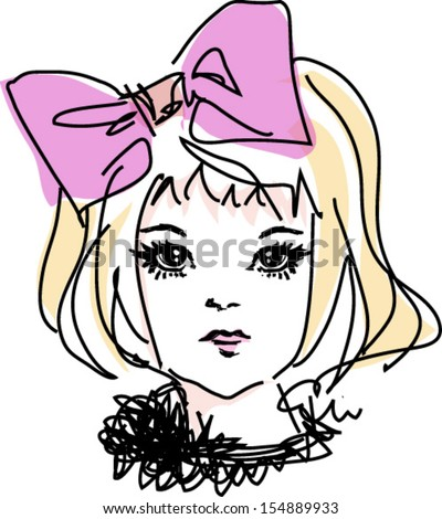 sketch girl hand drawn woman illustration with pink big bow hair accessories - stock vector