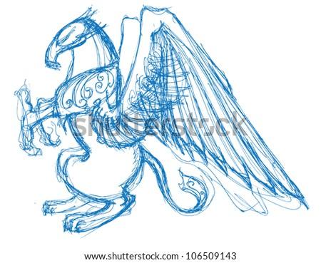 Sketch Gryphon - stock vector