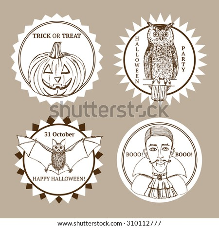 Sketch Halloween label in vintage style, vector set. Owl, vampire, bat and pumpkin. - stock vector