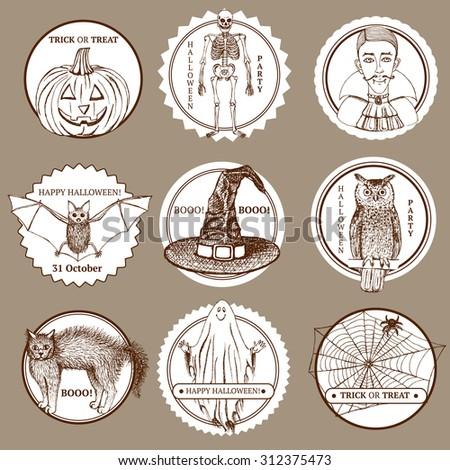 Sketch Halloween labels in vintage style, vector. Owl, vampire, bat, cat, net, spider, skeleton, witch's hat and pumpkin. - stock vector