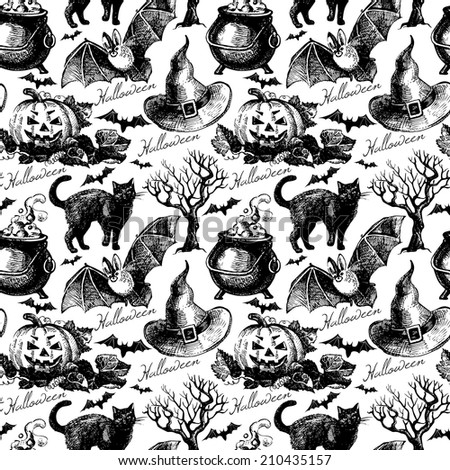 Sketch Halloween seamless pattern. Hand drawn vector illustration - stock vector