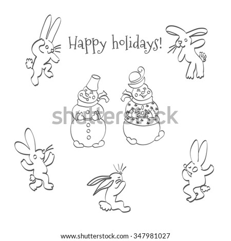Sketch hand drawing cartoon hares and snowmen .Postcard greetings holidays - stock vector