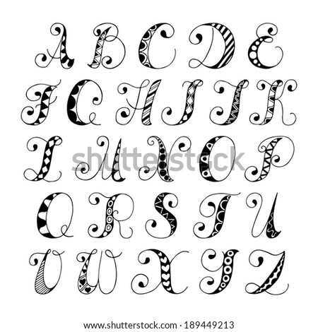 Sketch hand drawn alphabet black and white font letters isolated vector illustration - stock vector