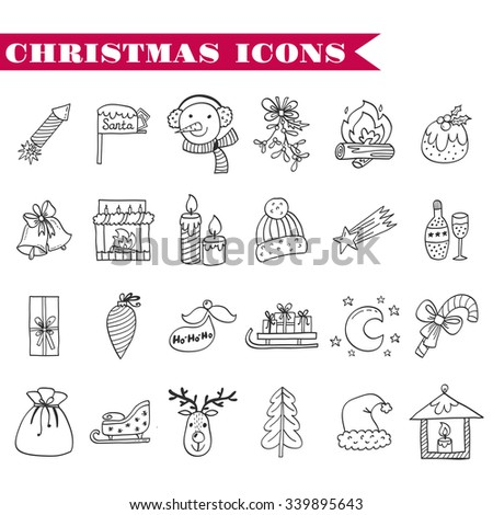Sketch hand drawn vector. Set Doodles illustration Christmas and New Year - stock vector