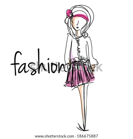 sketch hand drawn woman cartoon fashion girl illustration, vector file - stock vector