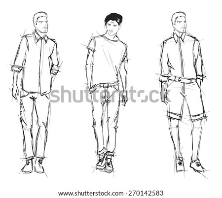 Sketch. Handsome stylish man showcasing street fashion - stock vector