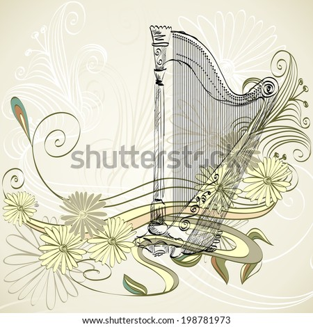 sketch  harp on a beige floral background - stock vector