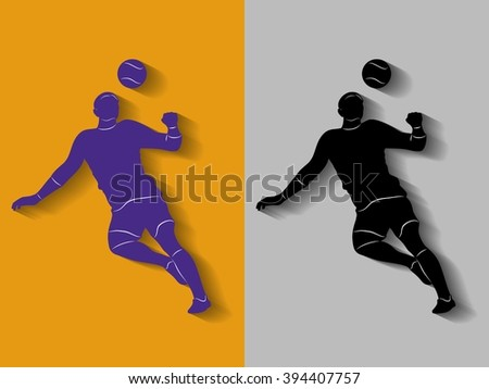 sketch-headed soccer player  ,vector drawing with shadow,of one color background - stock vector