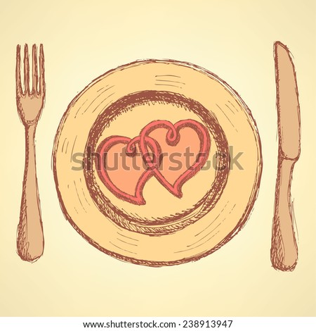 Sketch  hearts on the plate in vintage style,  vector  - stock vector