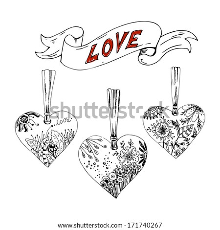 Sketch hearts with floral motif - stock vector